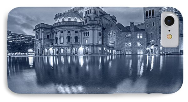 Blue Monochrome Boston Christian Science Building Reflecting Pool IPhone Case