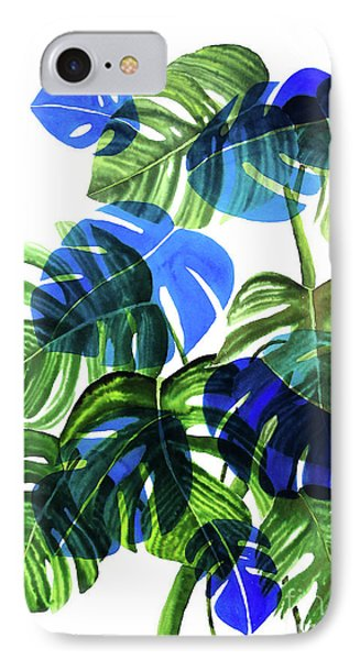 Blue Monstera IPhone Case by Ana Martinez