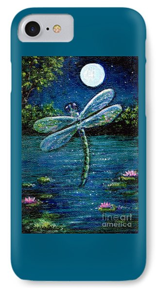 IPhone Case featuring the painting Blue Moon Dragonfly by Sandra Estes