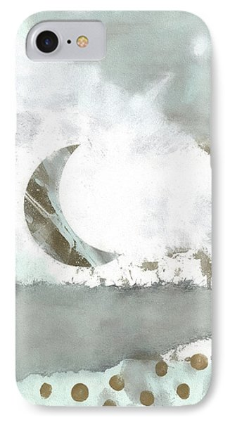 IPhone Case featuring the mixed media Blue Moonset Monoprint Collage by Carol Leigh