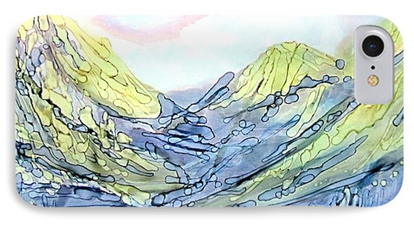 Blue Mountains Alcohol Inks  IPhone Case by Danielle  Parent