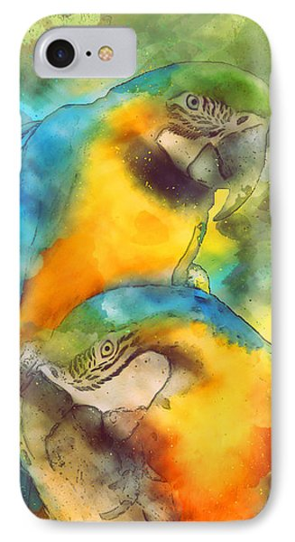 Blue N Gold Macaws IPhone 7 Case by Methune Hively