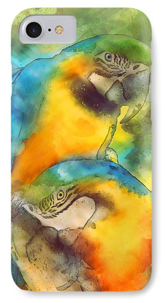 Blue N Gold Macaws IPhone Case by Methune Hively