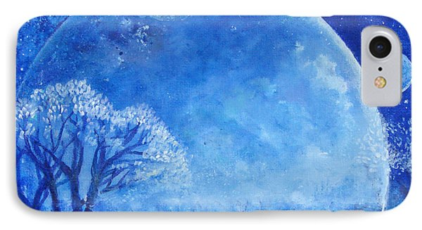 Blue Night Moon Phone Case by Ashleigh Dyan Bayer