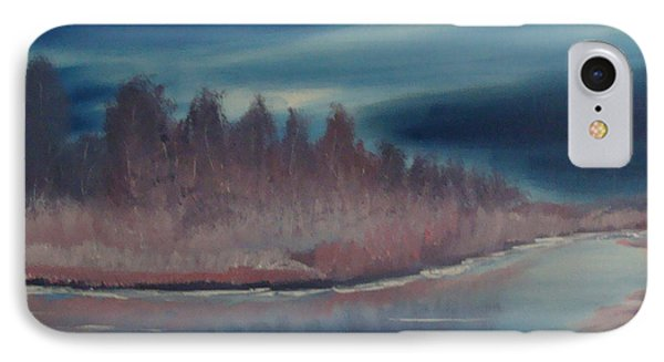 IPhone Case featuring the painting Blue Nightfall Evening by Rod Jellison