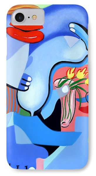 Blue Nude With Tulips IPhone Case by Anthony Falbo