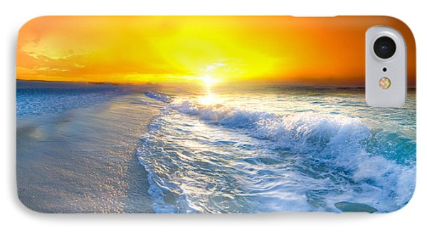 IPhone Case featuring the photograph Blue Ocean Landscape Wave Photography Red Surise by Eszra Tanner