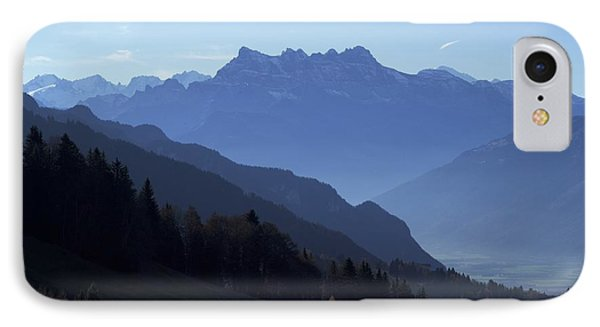 IPhone Case featuring the photograph Blue On Blue-- Les Dents Du Midi  by Colleen Williams