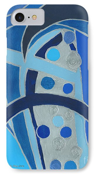 IPhone Case featuring the painting Blue On Silver by Ania M Milo