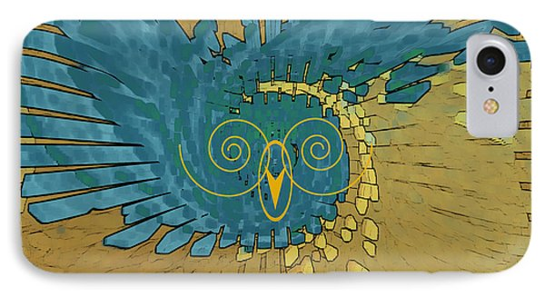 Abstract Blue Owl IPhone Case