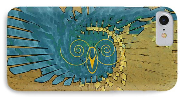 IPhone Case featuring the digital art Abstract Blue Owl by Ben and Raisa Gertsberg