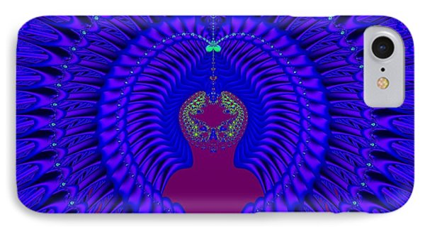 Blue Peacock Fractal 92 IPhone Case by Rose Santuci-Sofranko