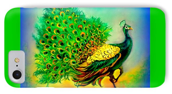 Blue Peacock IPhone Case by Yolanda Rodriguez