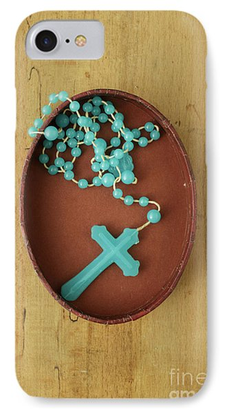 Blue Plastic Rosary In Oval Box IPhone Case by Edward Fielding