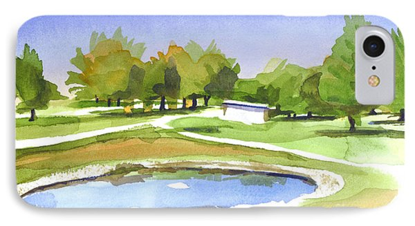 IPhone Case featuring the painting Blue Pond At The A V Country Club by Kip DeVore