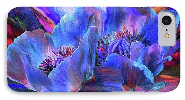 IPhone Case featuring the mixed media Blue Poppies On Red by Carol Cavalaris