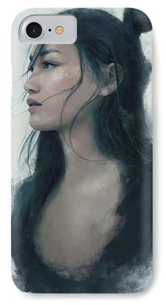 Blue Portrait IPhone Case by Eve Ventrue