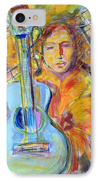 IPhone Case featuring the painting Blue Quitar by Mary Schiros
