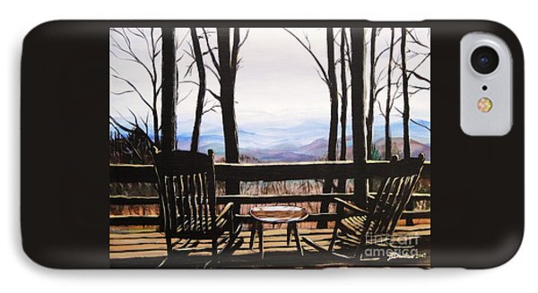IPhone Case featuring the painting Blue Ridge Mountain Porch View by Patricia L Davidson