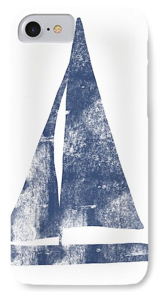 Blue Sail Boat- Art By Linda Woods IPhone Case by Linda Woods