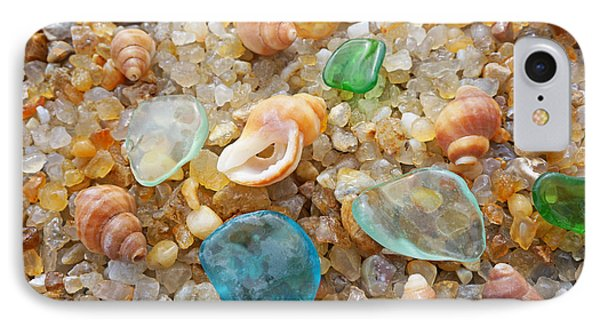 Blue Sea Glass Art Prints Rock Garden Shells Agates IPhone Case by Baslee Troutman Fine Art Prints