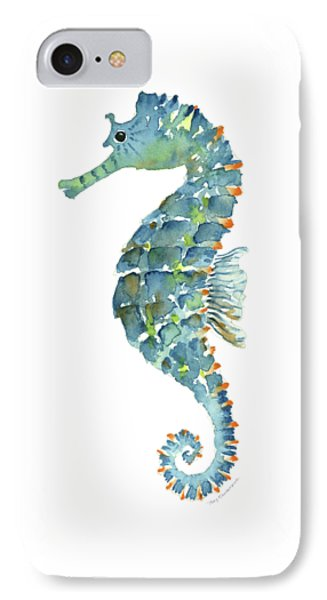 Blue Seahorse IPhone Case by Amy Kirkpatrick