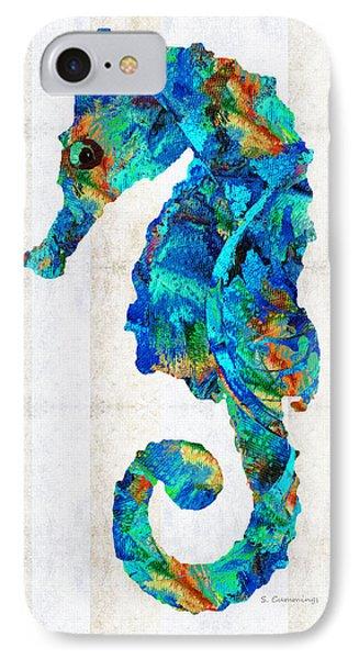 Seahorse iPhone 7 Case - Blue Seahorse Art By Sharon Cummings by Sharon Cummings
