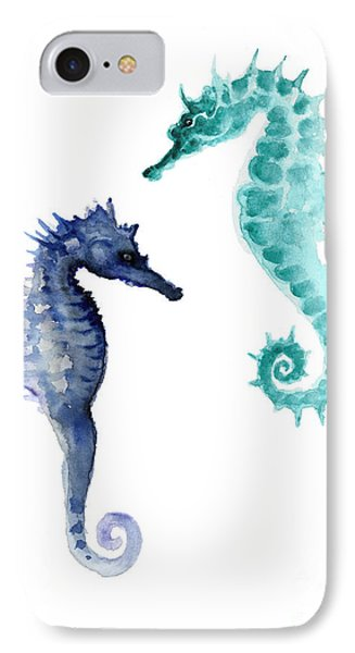 Seahorse iPhone 7 Case - Blue Seahorses Watercolor Painting by Joanna Szmerdt