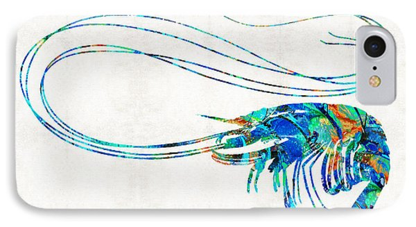 Blue Shrimp Art By Sharon Cummings IPhone Case by Sharon Cummings