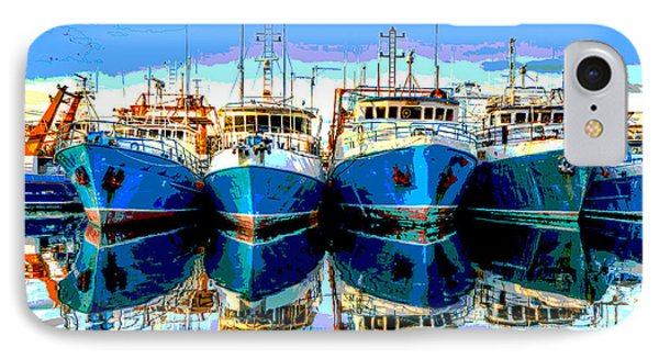 Blue Shrimp Boats IPhone Case by Charles Shoup