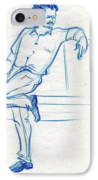 Blue Sketch Of A Man Waiting For Someone IPhone Case by Makarand Joshi