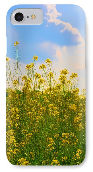Blue Sky Yellow Flowers Phone Case by Bill Cannon