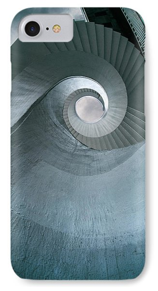 IPhone Case featuring the photograph Blue Spiral Stairs by Jaroslaw Blaminsky