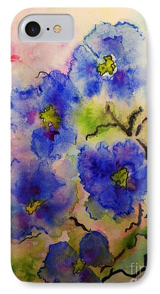 Blue Spring Flowers Watercolor IPhone Case by AmaS Art