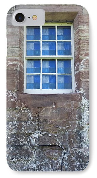 IPhone Case featuring the photograph Blue Squares In The Castle Window by Christi Kraft