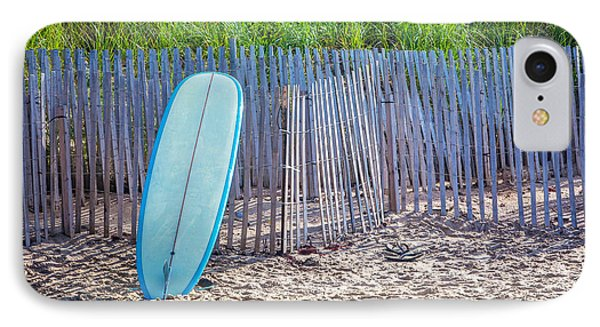 Blue Surfboard At Montauk IPhone Case by Art Block Collections