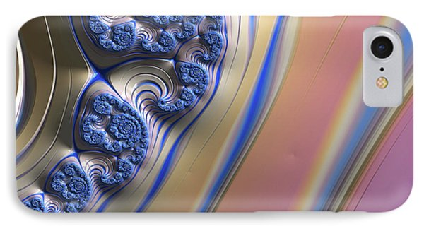 IPhone Case featuring the digital art Blue Swirly Fractal 2 by Bonnie Bruno