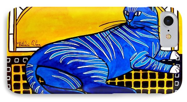 IPhone Case featuring the painting Blue Tabby - Cat Art By Dora Hathazi Mendes by Dora Hathazi Mendes