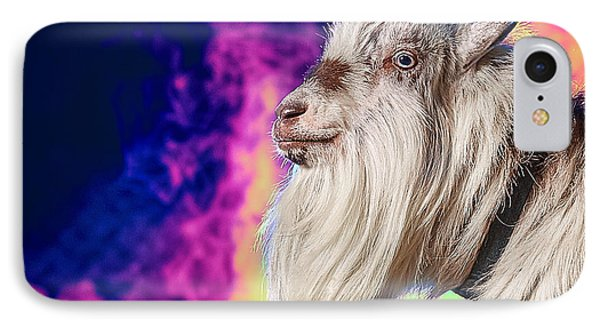 Blue The Goat In Fog IPhone Case by TC Morgan