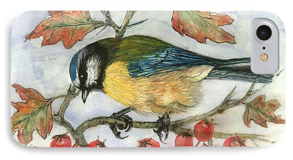 Blue Tit On Hawthorn IPhone Case by Nell Hill