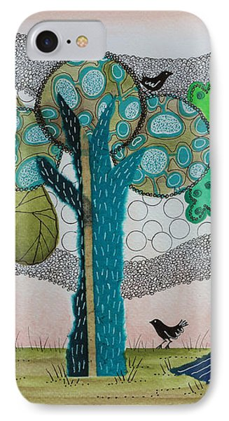 Blue Trees IPhone Case by Graciela Bello