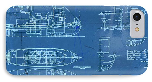 Blue Tugboat Blueprints IPhone Case by Joseph Hawkins