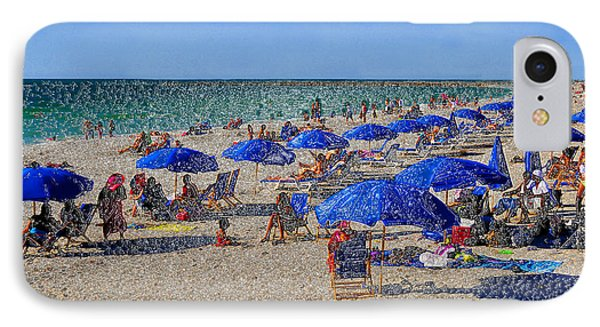 Blue Umbrella  Beach Phone Case by David Lee Thompson