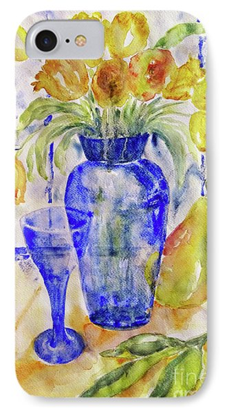 IPhone Case featuring the painting Blue Vase by Jasna Dragun