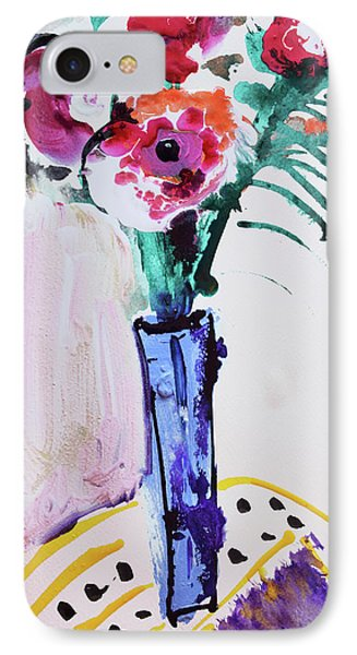 Blue Vase With Red Wild Flowers IPhone Case