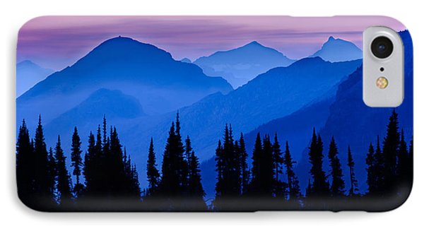 Mountain Sunset iPhone 7 Case - Blue Wall by Mike Lang