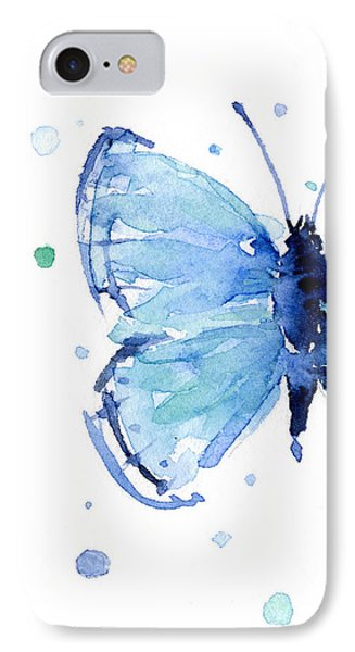 Blue Watercolor Butterfly IPhone 7 Case by Olga Shvartsur