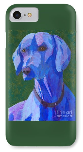 IPhone Case featuring the painting Blue Weimaraner by Donald J Ryker III
