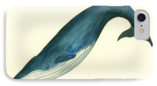 Blue Whale Painting IPhone Case by Juan  Bosco