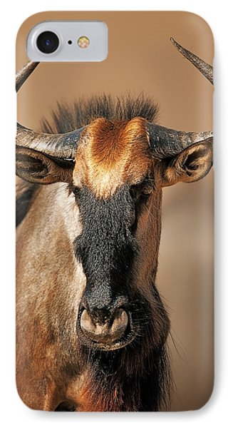 Blue Wildebeest Portrait IPhone Case by Johan Swanepoel